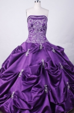 Fashionable Ball Gown Strapless Floor-length Purple Taffeta Embroidery Quinceanera dress Style FA-L-023