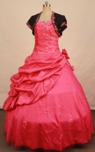 Fashionable Ball Gown Strapless Floor-length Red Appliques Quinceanera dress Style FA-L-276