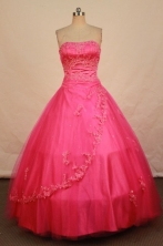 Fashionable Ball Gown Strapless Floor-length Rose Pink Beading Quinceanera dress Style FA-L-277