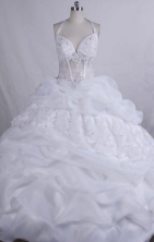 Fashionable Ball gown Halter top neck Floor-Length White Quinceanera Dresses Style FA-Y-97
