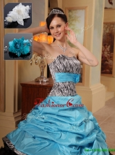 Fashionable Ruffles and Pick Ups Quinceanera Gowns in  Zebra for 2016QDZY434CFOR