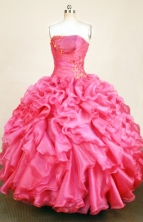 Gorgeous Ball Gown Strapless Floor-length Hot Pink Organza Appliques Quinceanera dress Style FA-L-363