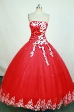 Gorgeous Ball Gown Strapless Floor-length Red Appliques Quinceanera dress Style FA-L-223