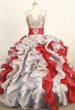 Gorgeous Ball Gown Strapless Floor-length Sliver Organza Beading Quinceanera dress Style FA-L-269