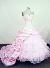 Gorgeous Ball Gown Sweetheart Chapel Train Taffeta Quinceanera Dresses Style FA-W-406