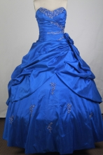 Gorgeous Ball Gown Sweetheart Neck Sweetheart Neck Floor-length Blue Quinceanera Dress LZ426004