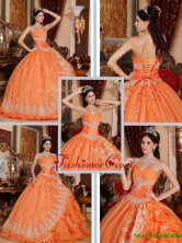 Latest Beading and Appliques Quinceanera Gowns in Orange Red QDZY308DFOR