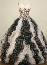 Luxurious Ball Gown Sweetheart Floor-length Black and White Organza Quinceanera dress Style FA-L-250