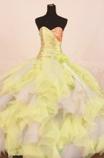 Luxurious Ball Gown Sweetheart Floor-length Yellow Organza Beading Quinceanera dress Style FA-L-272