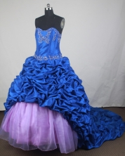 Luxurious Ball Gown Sweetheart Neck Floor-length Blue Quinceanera Dress LZ426031