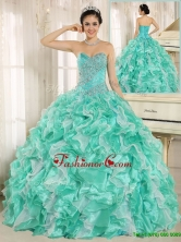 Modern Beading and Ruffles Apple Green Quinceanera Dresses  ZY791AFOR
