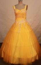 Modest A-line straps sweetheart-neck flor-length yellow appliques quinceanera dresses FA-X-167