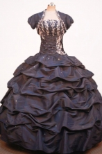Modest Ball Gown Strapless Floor-length Brown Taffeta Jacket Quinceanera dress Style FA-L-029