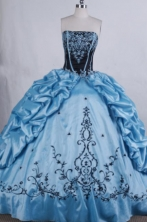 Modest Ball gown Strapless Floor-Length Baby blue Quinceanera Dresses Style FA-Y-19