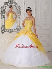 Modest Hand Made Flower Quinceanera Dresses in Yellow and White for 2016 QDZY462BFOR