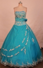 New Ball Gown Strapless Floor-length Teal Beading  Quinceanera dress Style FA-L-309