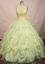 Perfect Ball Gown Halter Top Neck Floor-length Quinceanera Dresses Style FA-W-219