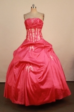 Perfect Ball Gown Strapless Floor-Length Red Appliques Quinceanera Dresses Style FA-S-227