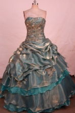 Perfect Ball Gown Strapless Floor-length Gray Taffeta Appliques Quinceanera dress Style FA-L-341