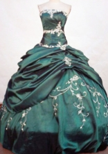 Perfect Ball Gown Strapless Floor-length Taffeta Dark Green Quinceanera Dresses Style FA-W-410