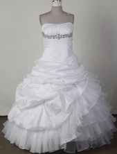 Perfect Ball Gown Strapless Floor-length White Quinceanera Dress LJ2666