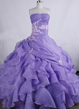 Perfect Ball gown Strapless Floor-Length  Appliques Lilac Quinceanera Dresses Style FA-Y-26