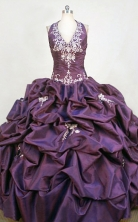 Popular Ball Gown Halter Top Floor-length Purple Taffeta Appliques Quinceanera dress Style FA-L-360