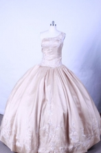 Popular Ball Gown One Shoulder Floor-length Champange Appliques Quinceanera dress Style FA-  L-069