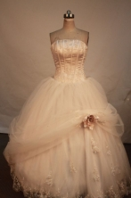 Popular Ball Gown Strapless Floor-length Strapless Net Appliques Quinceanera dress Style FA-L-218