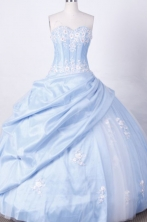 Popular Ball Gown Sweetheart Floor-length Light Blue Taffeta Appliques Quinceanera dress Style FA-L-019