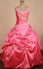 Popular Ball Gown V-neck Floor-length Rose Pink Taffeta Appliques Quinceanera dress Style FA-L-340