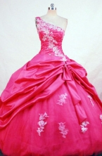 Pretty Ball Gown One Shoulder Neck Floor-length Taffeta Quinceanera Dresses Style FA-W-391