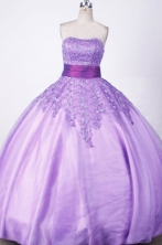Romantic Ball Gown Strapless Floor-length Lilac Beading Quinceanera dress Style FA-L-003