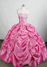 Romantic Ball Gown Sweetheart-neck Floor-length Pink Quinceanera Dresses Style FA-C-088