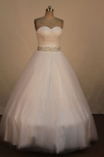Simpel Ball Gown Sweetheart Neck Floor-Length White Beading Quinceanera Dresses Style FA-S-267
