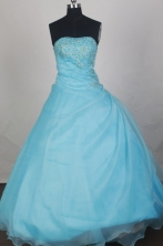 Simple Ball Gown Strapless Floor-length Light Blue Quincenera Dresses TD260054