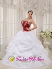 Summer White and Wine Red Appliques 2013 San Miguel de Tucuman Argentina Stylish Quinceanera Dress With Strapless Pick-ups Style QDZY545FOR