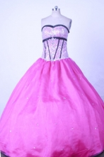 Sweet Ball Gown Strapless Floor-length Fuchsia Taffeta Beading Quinceanera dress Style FA-L-014