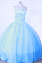 Sweet Ball Gown Strapless Floor-length Light Blue Beading Quinceanera dress Style FA-L-011