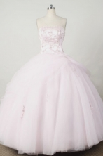 Sweet Ball Gown Strapless Floor-length Light Pink Organza Beading Quinceanera dress Style FA-L-047