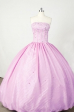 Sweet Ball Gown Strapless Floor-length Lilac Beading Quinceanera dress Style FA-L-055