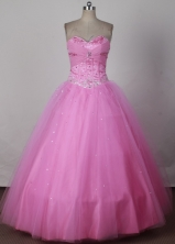 Sweet Ball Gown Strapless Floor-length Pink Quinceanera Dress LJ2661