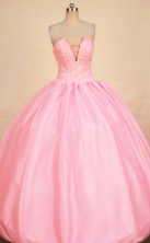 Sweet Ball Gown Strapless Floor-length Pink Taffeta Beading Quinceanera dress Style FA-L-353