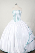 Sweet Ball Gown Strapless Floor-length White Taffeta Beading Quinceanera dress Style FA-L-064
