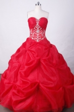 Sweet Ball Gown Sweetheart Floor-length Red Organza Beading Quinceanera dress Style FA-L-026