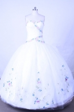 Sweet Ball Gown Sweetheart Floor-length White Organza Beading Quinceanera dress Style FA-L-062