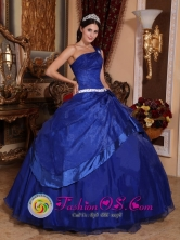 To Seller Royal Blue Quinceanera Dress With One Shoulder Neckline ball gown For Spring In Monte Chingolo Argentina Style QDZY395FOR