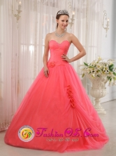 With Hand Made Flowers Sweetheart and A-line 2013 Concordia   Argentina Summer Quinceanera Dress Tulle Coral Red Style QDZY339FOR