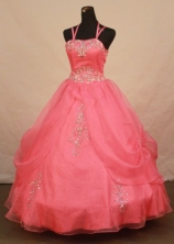 Wonderful Ball Gown Strap Floor-length Waltermelon Appliques Quinceanera dress Style FA-L-381