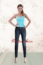 2015 Baby Blue Fashionable Corset with Beading and Appliques XFNAO011TZDFOR